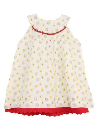 Cream-Grey Printed Cotton Dress