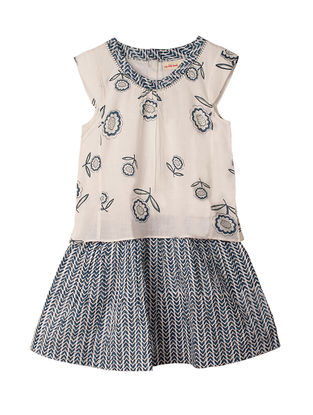 Blue-White Block-Printed Hand-embroidered Layered Cotton Dress with Sling Bag