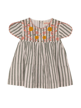 Grey Printed Hand-embroidered Striped Cotton Dress