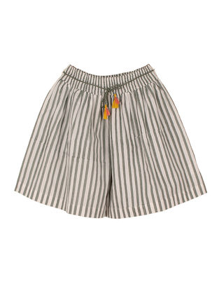 Grey Printed Striped Cotton Divided Skirt