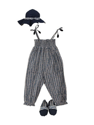 Blue Block-Printed Cotton Romper with Hat and Booties-(Set of 3)