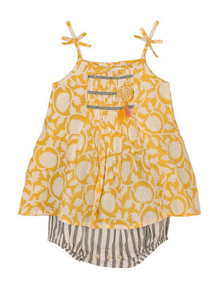 Yellow Block-Printed Cotton Romper Dress