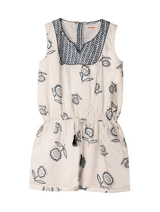 Blue-White Block-Printed Cotton Playsuit