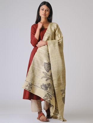 Beige-Black Madhubani Hand-painted Ghicha Tussar Silk Dupatta