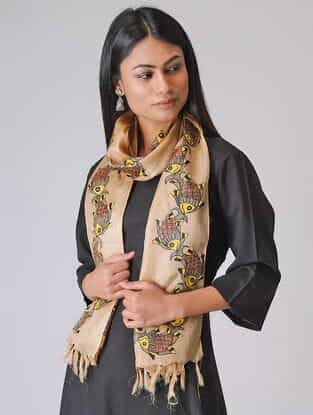 Beige-Yellow Madhubani Hand-painted Tussar Silk Stole