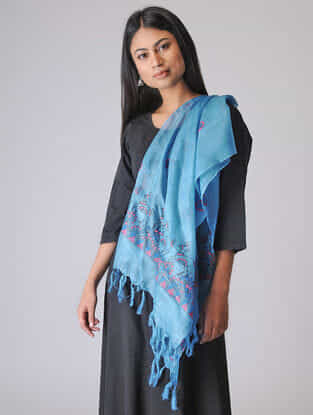 Blue-Pink Madhubani Hand-painted Tussar Silk Stole