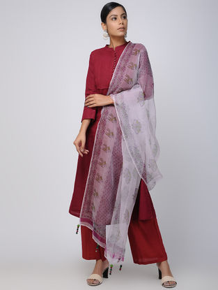 Ivory-Green Block-printed Fletcher Silk Dupatta with Tassels