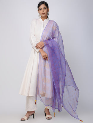 Purple-Orange Block-printed Fletcher Silk Dupatta with Tassels