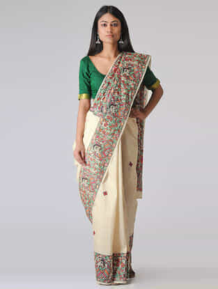 Ivory-Green Madhubani Hand-painted Tussar Silk Saree