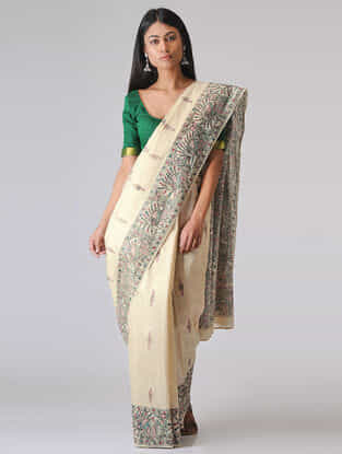 Ivory-Black Madhubani Hand-painted Tussar Silk Saree