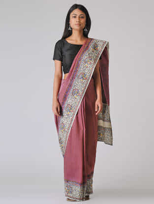 Pink-Ivory Madhubani Hand-painted Cotton Saree
