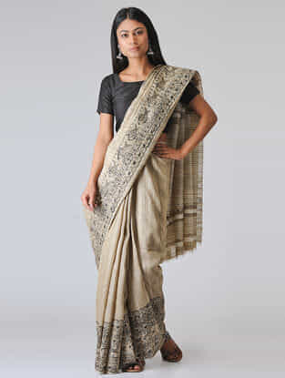 Beige-Black Madhubani Hand-painted Ghicha Tussar Silk Saree (Set of 2)