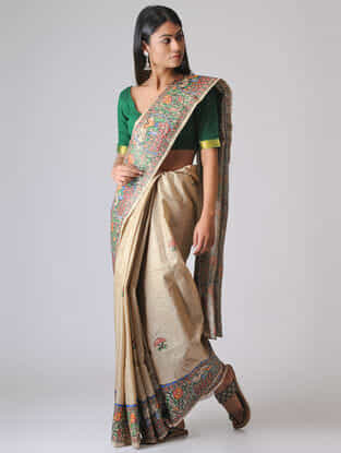 Beige-Red Madhubani Hand-painted Ghicha Tussar Silk Saree