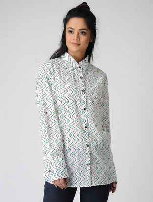 White-Green Block-printed Cotton Shirt