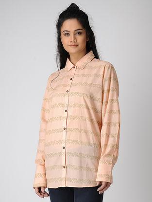 Peach Block-printed Cotton Shirt