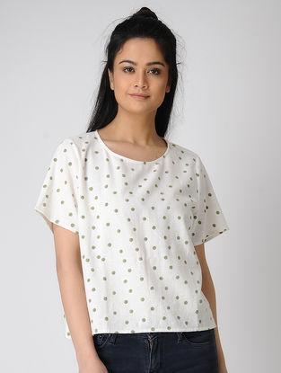 White Block-printed Khadi Cotton Top
