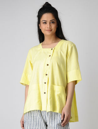 Yellow Block-printed Pleated Khadi Cotton Top