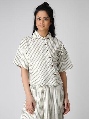 White-Green Block-printed Khadi Cotton Top