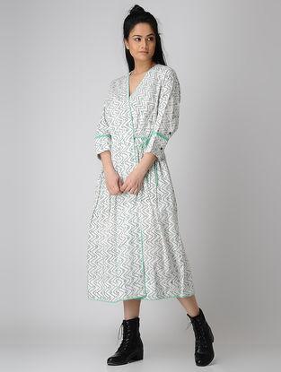 White-Green Block-printed Tie-up Waist Cotton Dress