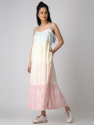 White-Yellow Block-printed Cotton Dress
