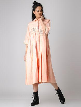 Peach Block-printed Pleated Cotton Kurta/ Dress
