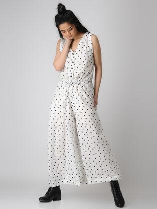 White Block-printed Tie-up Waist Cotton Jumpsuit