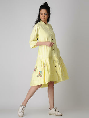 Yellow Embroidered Cotton Dress