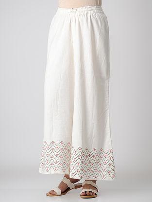 White Block-printed Elasticated Waist Khadi Cotton Pants