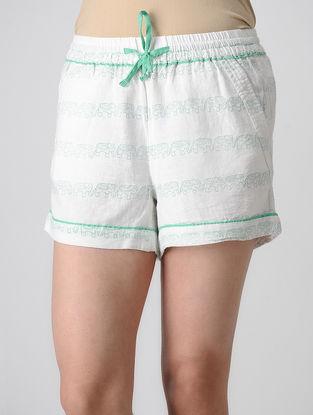 White Block-printed Elasticated Waist Khadi Cotton Shorts