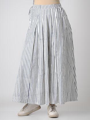 White-Blue Block-printed Elasticated Waist Khadi Cotton Skirt