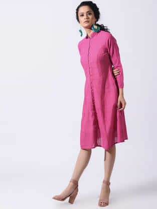 Pink Handloom Cotton Dress