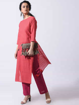 Red Handloom Cotton Kurta with Tassels