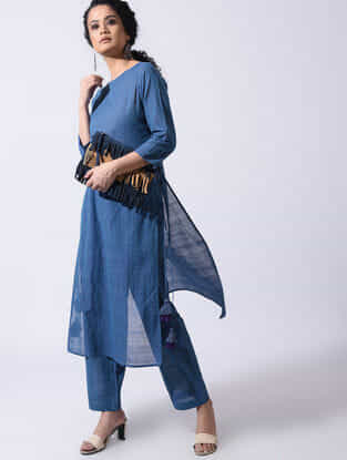 Blue Handloom Cotton Kurta with Tassels