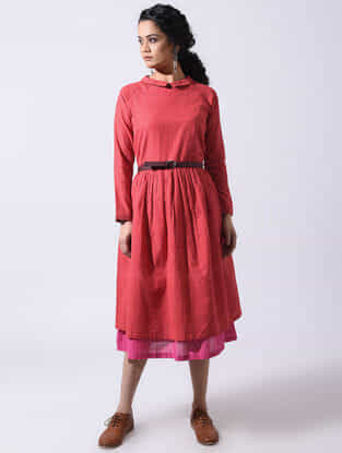 Red Handloom Cotton Dress with Gathers