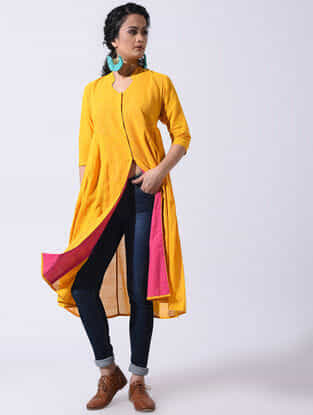 Yellow Handloom Cotton Dress with Pleats