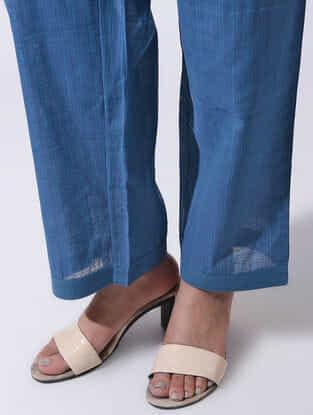 Blue Tie-up Waist Handloom Cotton Pants