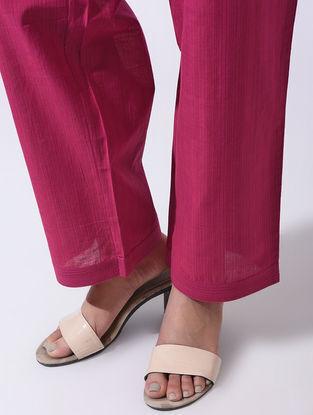 Pink Tie-up Waist Handloom Cotton Pants