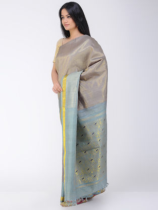 Grey-Blue Khadi-Mulberry Silk Saree with Zari