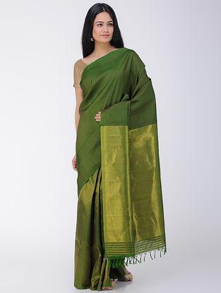 Green Khadi-Mulberry Silk Saree with Zari