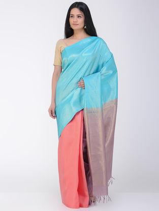 Pink-Blue Khadi-Mulberry Silk Saree with Zari