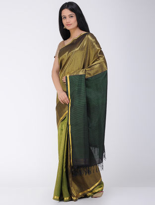 Green-Olive Khadi-Mulberry Silk Saree with Zari