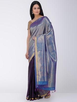 Purple Khadi-Mulberry Silk Saree with Zari