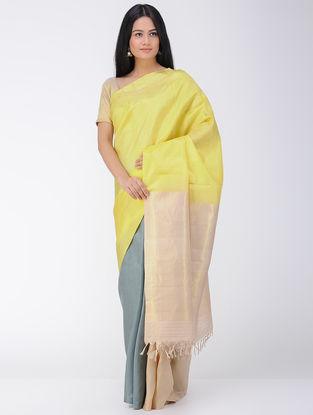 Grey-Yellow Khadi-Mulberry Silk Saree with Zari