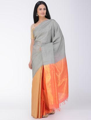 Orange-Grey Khadi-Mulberry Silk Saree with Zari