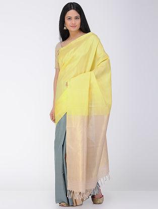 Yellow-Grey Khadi-Mulberry Silk Saree with Zari