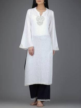 Ivory Embroidered Round Neck Linen Kurta