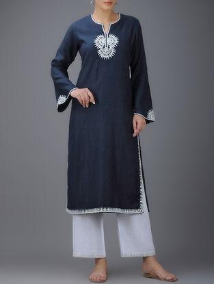 Navy Blue Embroidered Round Neck Linen Kurta