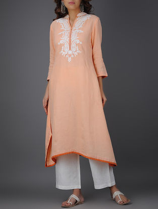 Peach Thread-embroidered Asymmetrical Linen Kurta