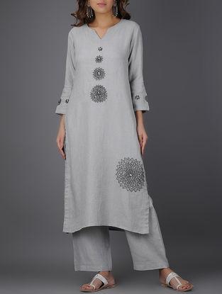 Grey Linen Kurta with Bead Work