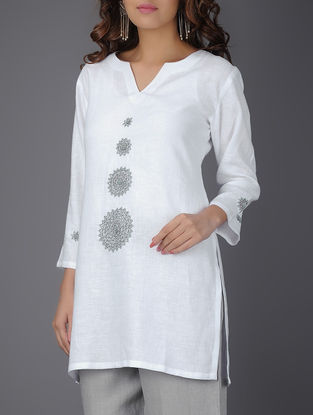 Ivory Linen Tunic with Bead Work